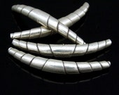 KS-013 thai karen hill tribe silver 2 large wrap curved tube bead