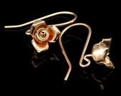 KZ-198 thai karen hill tribe handmade 24k rose gold vermeil ower silver pair rose flower earring hook