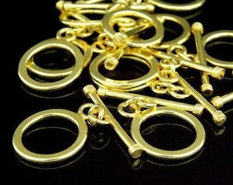 KG-287 thai karen hill tribe silver 2 gold vermeil plain round toggle