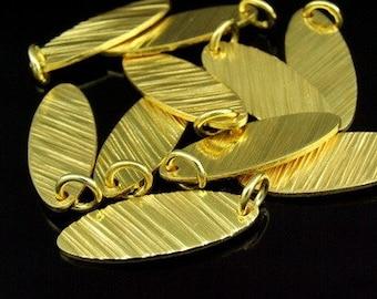 KG-337 thai karen hill tribe silver 2 gold vermeil oval scratch charm