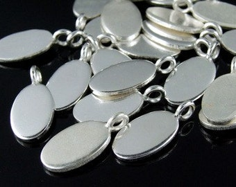 3KH-071 thai karen hill tribe handemade silver white 5 smooth oval flat disc charm