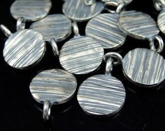 8KH-034 thai karen hill tribe handemade silver 4 black & white scratch round disc charm