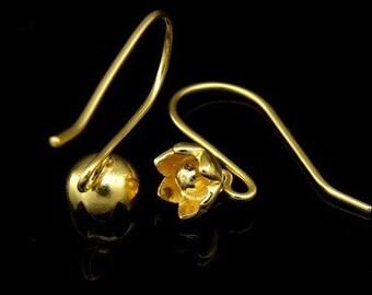 KG-483 thai karen hill tribe handmade 24k gold vermeil ower silver pair wild flower earring hook