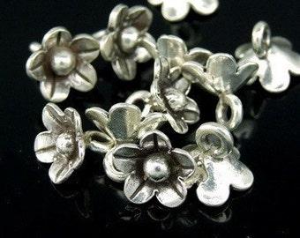 4KH-042 Thai Karen Hill Tribe Silver 10 Mini Wild Flower Charm
