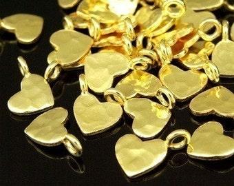 KG-176 thai karen hill tribe silver 8 gold vermeil hammered heart charm