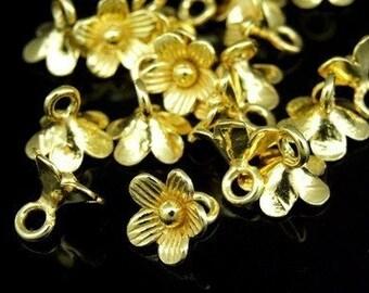 KG-159 thai karen hill tribe silver 8 gold vermeil small flower charm