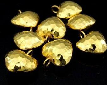 KG-399 thai karen hill tribe silver 3 gold vermeil hammered puffed heart shape charm