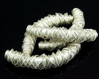 KS-033 thai karen hill tribe silver 2 swirl wire wrap curved tube bead