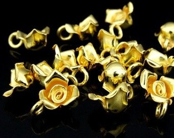 KG-051 thai karen hill tribes silver 4 gold vermeil wild rose charm