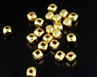 KG-089 thai karen hill tribes silver 30 gold vermeil facet spacer bead