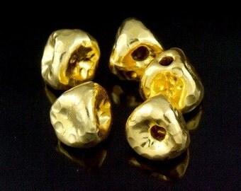 KG-090 thai karen hill tribe silver 2 gold vermeil  hammered triangle bead