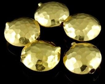 KG-092 thai karen hill tribes silver 2 gold vermeil hammered puffy bead
