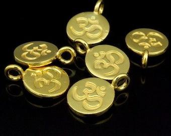 KG-428 thai karen hill tribes silver 6 gold vermeil om symbol disc charm 10mm.