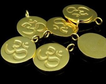 KG-430 thai karen hill tribes silver 2 gold vermeil om symbol disc charm