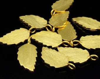 KG-460 thai karen hill tribes silver 4 gold vermeil brush leaf  charm