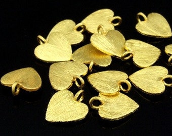 KG-462 thai karen hill tribes silver 6 gold vermeil brush heart charm