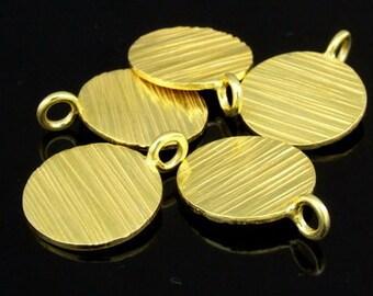 KG-347 thai karen hill tribes silver 3 gold vrmeil scratch round disc charm