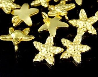 KG-098 thai karen hill tribes silver 3 gold vermeil small starfish charm