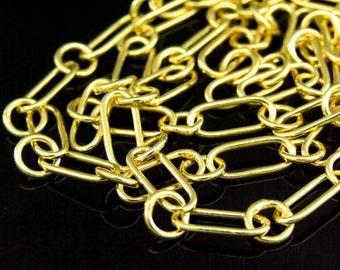 KG-315 thai karen hill tribe silver gold vrmeil oval & round plain link chain 24 inch