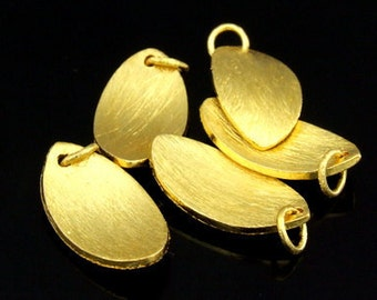 KG-475 thai karen hill tribes silver 3 gold vermeil curve brush oval charm