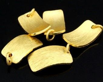 KG-477 thai karen hill tribes silver 2 gold vermeil curve brush rectangle charm