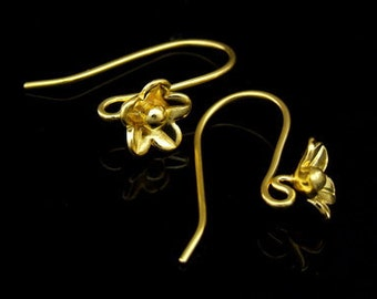 KG-485 thai karen hill tribes handmade 24K gold vermeil over silver pair wild flower earring