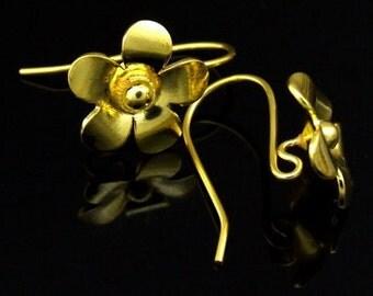 KG-496 thai karen hill tribes handmade 24K gold vermeil over silver pair wild flower earring