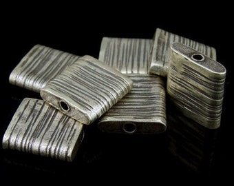 KI-051 thai karen hill tribes silver 2 scratch ractangle bead