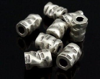 KK-031 thai karen hill tribes silver 4 hammered tube bead