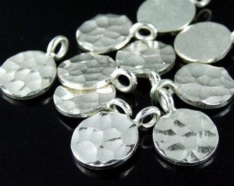 3KH-057 thai karen hill tribe handmade silver 6 hammered round disc charm