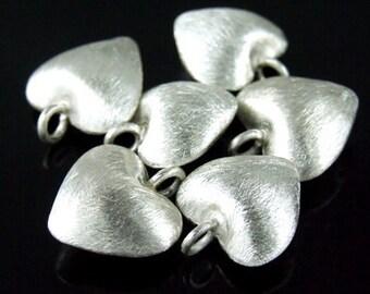 7KH-041 thai karen hill tribe handmade silver 6 brush puffy heart charm