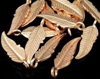 KZ-073 Thai karen hill tribes handmade silver 5 rose gold vermeil feather diecut charm