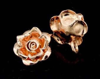 KZ-007 thai karen hill tribe handmade silver 3 rose gold vermeil wild rose charm