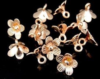 KZ-017 thai karen hill tribe handmade silver 8 rose gold vermeil mini flower charm