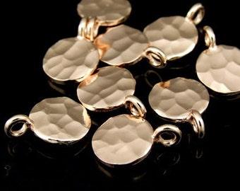 KZ-027 thai karen hill tribe handmade silver 6 rose gold vermeil hammered round disc charm (hammered single side)
