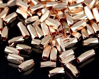 KZ-034 thai karen hill tribe handmade silver 50 rose gold vermeil long facet bead