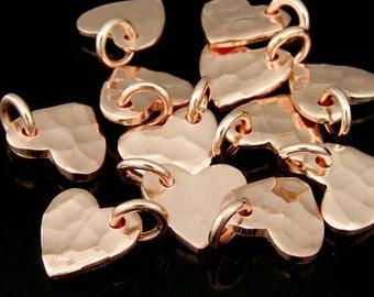 KZ-099 thai karen hill tribe handmade silver 6 rose gold vermeil small hammered heart shape charm