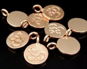 KZ-168 thai karen hill tribe handmade silver 4 rose gold vermeil  om symbol disc charm