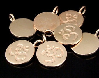 KZ-169 thai karen hill tribe handmade silver 2 rose gold vermeil  om symbol disc charm