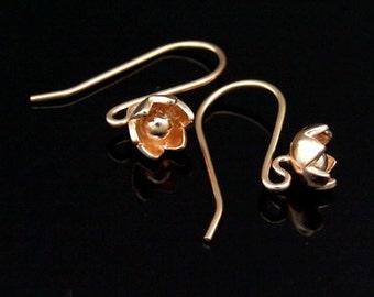 KZ-193 thai karen hill tribe handmade 24k rose gold vermeil ower silver pair wild flower earring hook
