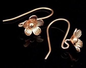 KZ-196 thai karen hill tribe handmade 24k rose gold vermeil ower silver pair wild flower earring hook