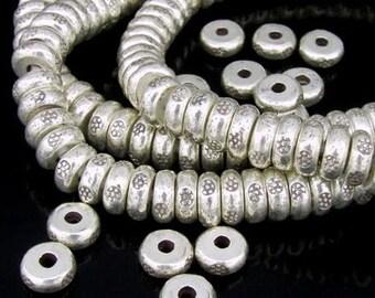 KK-017 thai karen hill tribe silver 8 daisy print spacer bead