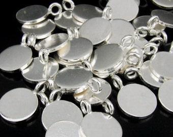 3KH-006 thai karen hill tribe silver 4 small plain round disc charm 10mm.