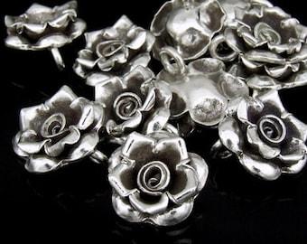 4KH-035 thai karen hill tribe silver 3 wild rose charm
