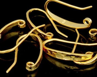 KG-517 thai karen hill tribe handmade silver 4 gold vermeil long hammered earring hook
