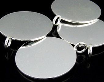 7KH-059 thai karen hill tribe handmade silver 1 simple plain round disc charm 24.0 mm.