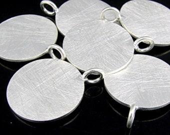 7KH-074 thai karen hill tribe handmade silver 2 brush round disc charm  18.0 mm.