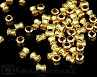 KG-014 thai karen hill tribes silver 40 gold vermeil mini hourglass bead