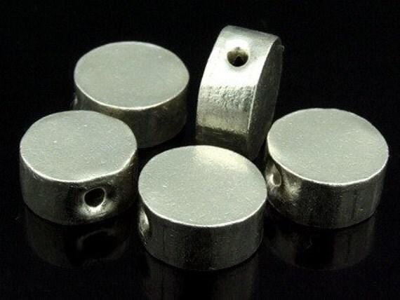 KK-038 thai karen hill tribe silver 2 plain cylinder bead