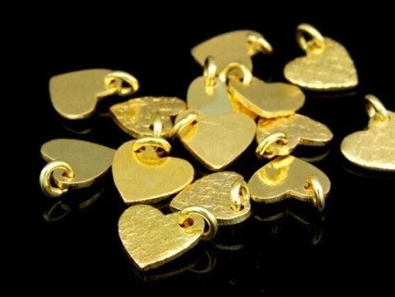 KG-371 thai karen hill tribe silver 6 gold vermeil texture heart shape charm